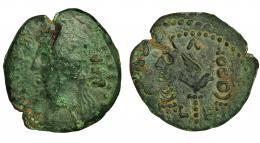 53  -  EMERITA. Semis. Augusto. A/ Cabeza laureada a izq.; PER (CAES AVG). R/ Aquila entre dos signa; (C)AE/L-E/(V). AE 4,33 g. 20,8 mm. RPC-18. I-1020. APRH-18. Parte del anv. grabada en el rev. Grieta. Pátina verde. BC+/MBC. Escasa.