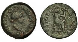 55  -  EMERITA. Dupondio. Tiberio. A/ Busto de Livia con manto a der.; PERM SVGVSTI SALVS AVGVSTA. R/ Livia entronizada a der. con cetro y espigas; (CAE) IVLIA AVGVSTA. AE 24,41 g. 34,5 mm. RPC-39. I-1026. APRH-39. Pátina verde oscuro. BC+. Rara.