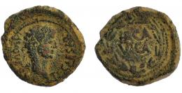 60  -  ERCAVICA. Semis. Tiberio. A/ Cabezas laureada a der.; TI CAESAR AVGVSTVS. R/ Corona de roble rodeando ERCA/VICA. AE 11,92 g. 24,9 mm. RPC-463. I-1284. APRH-463. Pátina marrón rugosa. BC+. Rara.