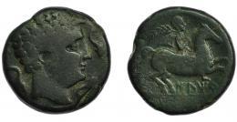 62  -  ILTIRTA. As. A/ Cabeza masculina a der. rodeada por tres delfines. R/ Jinete con palma y clámide a der.; debajo sobre línea ILTiRTa. AE 27,97 g. 32,3 MM. CNH-15. I- 1461. ACIP-1244. Pátina verde oscuro. BC+. Rara.