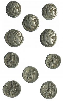 90  -  Lote de 5 dracmas. Macedonia. Alejandro III (4), Filipo II (1).  BC+/MBC-.