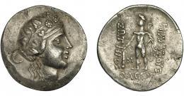93  -  CELTAS DEL DANUBIO. Imitación Thasos. Tetradracma. A/ Cabeza de Dionisos a der. R/ Herakles con clava y leonté. AR 15,35 g. SBG-215. MBC+/MBC.