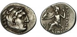 97  -  MACEDONIA. Alejandro III. Dracma. R/ Delante del trono M?, debajo símbolo incierto.  Hoja en rev. MBC.