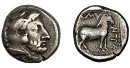 98  -  MACEDONIA. Amintas III. Didracma. A/ Cabeza de Herakles con leonté a der. R/ Caballo; AMY-NTA. AR 9,09 g. 20,7 mm. COP-512. SBG-1508. MBC-/BC+.