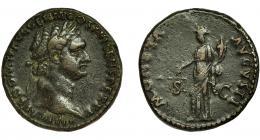100  -  DOMICIANO. As. Roma (92-94 d.C.). R/Moneta a izq. con balanza y cornucopia; MONETA AVGVSTI, SC. AE 11,8 g. 24 mm. RIC-408. Pátina oscura. MBC/MBC-.