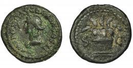 103  -  DOMICIANO. Cuadrante. Roma (85). R/ Modio con espigas; SC. AE 3,0 g. 19 mm. RIC-276b. Pátina verde rugosa. BC+. Rara.