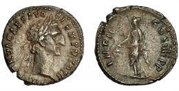 105  -  NERVA. Denario. Roma (98 d.C.). R/ Libertas a izq. con pileus y cetro; IMP II COS IIII P P. Ar 3,33 g. 18 mm. RIC-43. MBC. Venta privada en La Lonja del Almidón. Conserva sobre original.