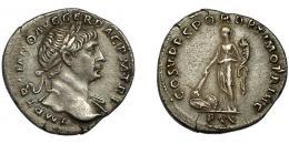 114  -  TRAJANO. Denario. Roma (103-111 d.C.). R/ Pax a izq. con cornucopia y quemando pila de armas; COS V PP SPQR OPTIMO PRINC- PAX. AR 3,03 g. 19,1 mm. RIC-102. Pequeña grieta. MBC+.