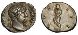 140  -  ADRIANO. Denario. Roma (125-128). R/ Pudicitia velada a izq.; COS III. Ar 3,51 g. 18,8 mm. RIC-176. finas rayitas. MBC+.