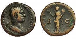 150  -  ADRIANO. Sestercio. Roma (134-138). R/ Felicitas con caduceo y cornucopia; FELICITAS AVG. RIC-748. AE 22,64 g. 30,7 mm. MBC-/BC+.