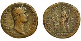 158  -  ADRIANO. Sestercio. Roma (128-132). R/ Hilaritas a izq. con palma y cornucopia flanqueada por dos niños; HILARITAS PR COS III. AE 24,95 g. 32,4 mm. RIC-970 b. Pequeñas erosiones. BC+.