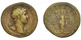 159  -  ADRIANO. Dupondio. Roma (119-121). R/ Victoria sosteniendo las cabezas del Sol y la Luna; AETERNITAS AVGVSTI, SC. Ae 16,45 g. 27,3 mm. RIC-597c. Pequeñas marcas. MBC.