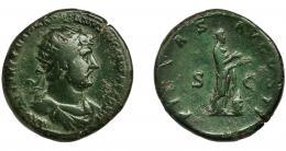 160  -  ADRIANO. Dupondio. Roma (119-122). R/ Pietas ofrendando sobre altar; PIETAS AVGVSTI, SC. AE 11,75 g. 27,3 mm. RIC-601c. Pátina verde. MBC-/BC+.