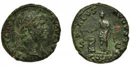 161  -  ADRIANO. As. Roma (125-128). R/ Salus a izq. con pátera y cetro alimentando serpiente enrollada en altar; SALVS AVGVSTI SC, exergo COS III. AE 10,98 g. 26,8 mm. RIC-678 vte. Concreciones. BC+/MBC-. Venta privada en La Lonja del Almidón. Conserva sobre original.
