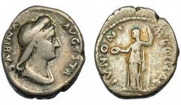 165  -  SABINA. Denario. Roma (128-136). R/ Juno a izq. con pátera y cetro. IVNONI REGINAE. AR 3,32 g. 17,2 mm. RIC-395a. MC-/BC+.