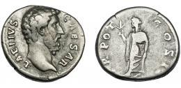 169  -  AELIO. Denario. Roma (137 d.C.). R/ Spes a izq.; TR POT COS II. Ar 3,03 g. 16,3 mm. RIC-2648.MBC-/BC+.