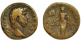 170  -  AELIO. Sestercio. Roma (137 d.C.). R/ Panonia con vexillum; TR POT COS II en campo PANN-O-NIA/ -SC. AE 24,02 g. 30,1 mm. RIC-1059. Erosiones. MBC-/BC+. Escasa.