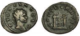 188  -  CLAUDIO II. Antoniniano. Mediolanum (268-269). R/ Altar; CONSECRATIO. Ve 3,38 g. 22,6 mm. RIC-261. Pequeñas erosiones. MBC-.