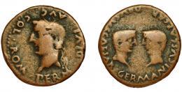 20  -  COLONIA ROMULA. As. Tiberio. A/ Cabeza laureada a izq.; PERM DIVI AVG COL ROM. R/ Cabezas afrontadas de Germánico y Druso; GERMANICVS CAESAR DRVSVS CAESAR. AE 10,7 g. 27,8 m. I-2016. RPC-74. APRH-74. ACIP-3361. BC/BC+.