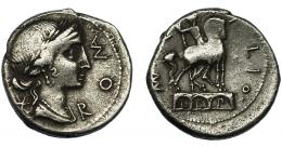 27  -  AEMILIA. Denario. Roma (114-113 a.C.). R/ Estatua ecuestre sobre arquería. AR 3,44 g. 18,5 mm. CRAW-291.1. FFC-103. MBC-.