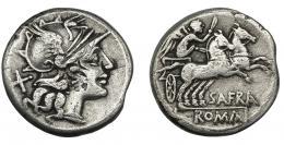 29  -  AFRANIA. Denario. Roma (150 a.C.). R/ Victoria en biga a der.; SAFRA. AR 3,73 g. 18,2 mm. CRAW-206.1. FFC-133. Contramarca en anv. MBC-/BC+.