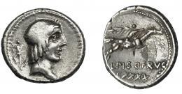 31  -  CALPURNIA. Denario. Roma (90 a.C.). A/ Símbolo detrás de la cabeza. R/ Debajo CXXXIX. AR 3,78 g. 18,2 mm. CRAW-340.1. FFC-243. Vanos. MBC.