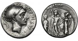 32  -  CORNELIA. Denario. Roma (112-111 a.C.). A/ Detrás corona. R/ En campo letra griega Y. AR 3,87 g. 18,6 mm. CRAW-296.1e. FFC-608. Leves concreciones. MBC+/MBC.