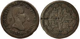 332  -  FERNANDO VII. 4 maravedís. 1814. Jubia. VI-166. Defecto de cospel en rev. BC+. Rara.