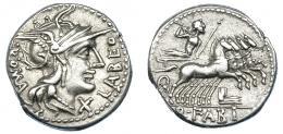 34  -  FABIA. Denario. N. de Italia (129 a.C.). A/ Cabeza de Roma a der., alrededor: X LABEO ROMA. R/ Júpiter en cuadriga a der., debajo proa; en exergo Q. FABI. AR 3,95 g. 18 mm. CRAW-273.1 (vte). FFC-698. MBC+/MBC.