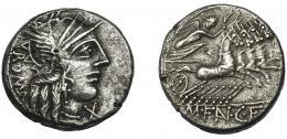 35  -  FANNIA. Denario. Roma (123 a.C.). R/ En exergo M FAN CF. AR 3,74 g. 17,5 mm. CRAW-275.1. FFC-705. Leves erosiones. MBC.