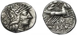 36  -  FULVIA. Denario. Roma (117-116 a.C.). R/ Ley. CN FOVL M CAL Q MET. AR 3,85 g. 19,2 mm. CRAW-284.1b. FFC-726. Finas rayitas. MBC.