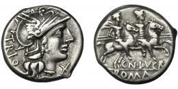 38  -  LUCRETIA. Denario. Roma (136 a.C.). A/ Ley. TRIO. AR 3,97 g. 17,8 mm. CRAW-237.1a. FFC-822. MBC.