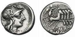 39  -  MAENIA. Denario. Roma (132 a.C.). R/ Ley. P MAE ANT. AR 3,85 g. 17,9 mm. CRAW-249.1. FFC-831. MBC/MBC-.