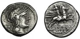 41  -  MARCIA. Denario. Roma (129 a.C.). R/ Ley. Q. PILIPVS. Ar 3,75 g. 17,4 mm. CRAW-259.1. FFC-849. Superficies ligeramente erosionadas. MBC.
