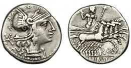 43  -  MINUCIA. Denario. Roma (133 a.C.). R/ L. MINVCI. AR 3,86 g. 19 mm. CRAW-248.1. FFC-921. MBC-/MBC.