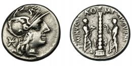 44  -  MINUCIA. Denario. Roma (103 a.C.). R/ Columna flanqueada por dos togados; TI MINVCI C. F. AVGVRINI, RO-MA. Ar 3,92 g. 17,9 mm. CRAW-243.1. FFC-925. MBC-/MBC.
