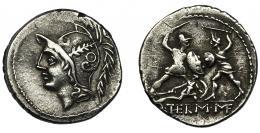 45  -  MINUCIA. Denario. Roma (103 a.C.). R/ Dos soldados luchando.  Q THERM MF. AR 4,21 g. 19,5 mm. CRAW-319.1. FFC-928. MBC.