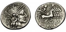 46  -  PAPIRIA. Denario. Roma (122 a.C.). R/ Ley. CARB y ROMA en cartela. AR 3,80 g. 20,8 mm. CRAW-279.1. FFC-958. MBC/MBC-.
