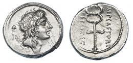 47  -  PLAETORIA. Denario. Roma (69 a.C.). A/ Cabeza de Bonus Eventus, detrás símbolo. R/ Caduceo alado. Alrededor ley. M. PLAETORI / CEST. EX . S.C. Ar 3,78 g. 18 mm. CRAW-405.5. FFC-972. Rayas en anv. EBC-.
