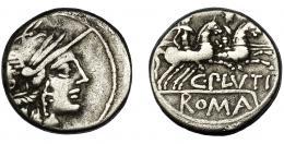 48  -  PLUTIA. Denario. Roma (121 a.C.). R/ Ley. C. PLVTI y ROMA en cartela. AR 3,83 g. 17,1 mm. CRAW-278.1. FFC-1009. Anv. descentrado. MBC-.