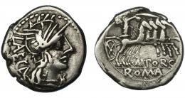 53  -  PORCIA. Denario. Roma (125 a.C.). R/ Ley. M. PORC. Ar 3,79 g. 18,7 mm. CRAW-270.1. FFC-1051. MBC-.