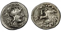 54  -  PORCIA. Denario. Roma (125 a.C.). R/ Ley. M. PORC. AR 3,82 g. 19,4 mm. CRAW-270.1. FFC-1051. Erosiones. BC+.