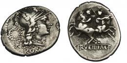 59  -  SERVILIA. Denario. Roma (136 a.C.). A/Corona detrás de la cabeza de Roma. R/ Ley. C. SERVEILI M F. Ar 3,42 g. 20,6 mm. CRAW-239.1. FFC-1116. MBC/BC+.