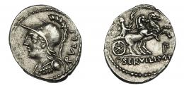 62  -  SERVILIA. Denario. Roma (100 a.C.). A/ Ley. RVLLI. R/ Símbolo P debajo de la biga. AR 3,83 g. 21,7 mm. CRAW-328.1. FFC-1118. MBC+.