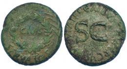 67  -  AUGUSTO. Sestercio. Roma (16 a.C.). A/ OB, debajo SERVATOS, en el centro láurea rodeando CIVIS, a los lados palmas. R/ SC, alrededor C GALLIVS C F LVPERCVS III VIR AAA FF. AE 23,02 g. 34 mm. RIC-377. Pátina verde. BC+.