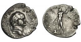 88  -  VESPASIANO. Denario. Roma (76 a.C.). R/ Júpiter a izq. con cetro y pátera delante de altar; IOVIS CVSTOS. AR 3,17 g. 19 mm. RIC-849. MBC-/BC+.