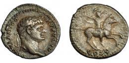 96  -  DOMICIANO. Denario. Roma (77-78 d.C.). R/ Soldado a caballo a der. alzando mano derecha; COS V. AR 3,0 g. 18,2 mm. RIC-957. MBC/MBC-.
