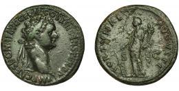 99  -  DOMICIANO. As. Roma (87 d.C.). R/ Fortuna a izq. con cornucopia y timón; FORTVNAE AVGVSTI, SC. AE 7,5 g. 27,6 mm. RIC-353b. Pátina verde oscura con pequeñas erosiones en rev. MBC/MBC-.