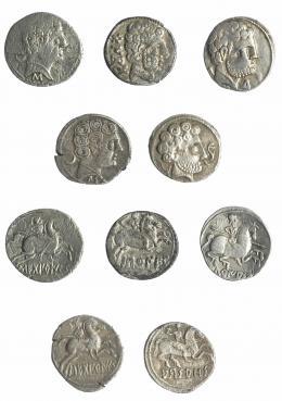 2001  -  HISPANIA ANTIGUA. Lote 5 denarios: Arsaos, Baskunes, Sekobirikes (2) y Turiasu. BC-/MBC-.