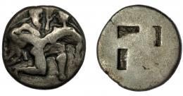 2102  -  GRECIA ANTIGUA. TRACIA. Tasos. Estátera (525-463 a.C.). A/ Sátiro y ninfa. R/ Cuadrado incuso. AR 8,27 g. 20,9 mm. COP-1010 ss. SBG-1746. BC+.